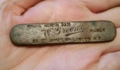 Metal Detecting Finds W.Groome Maker Plaque / Suitcase Tag ? Vintage / Antique ?
