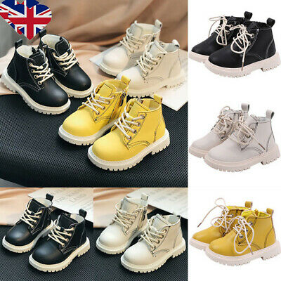 UK Kids Boys Girls Chelsea Boots Toddler Child Lace Up Ankle Booties Shoes 2-6Y