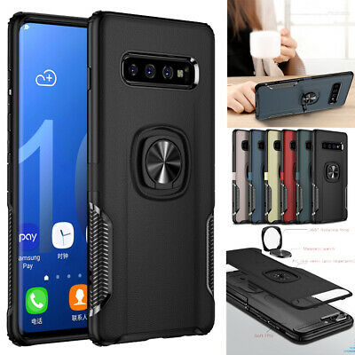 For Samsung Galaxy S10 S9 Note 8 Shock-Absorbing Armour Metal Ring Holder Case