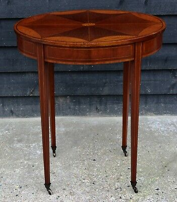 Fine Quality Antique Edwardian Mahogany & Satinwood Inlaid Oval Occasional Table