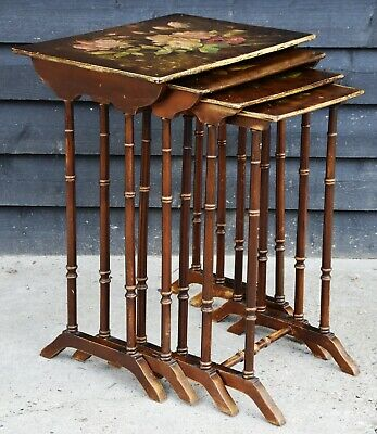 Lovely Antique Victorian Hand Painted Quartetto of Tables/ Nest of Tables.