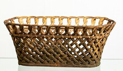 Antique 19th Century Cast Iron Woven Basket / Planter / Jardiniere / Pot