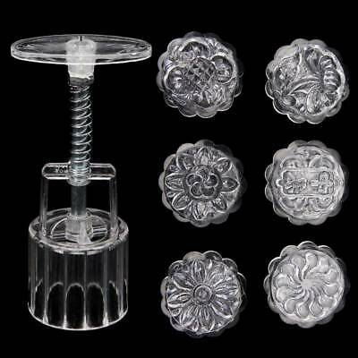 6 Flower Stamps Moon Cake Mould Clear Round Mooncake Mold Baking Decor 50g
