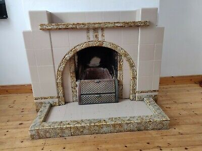 1940's ceramic tiled fireplace mantlepiece and hearth