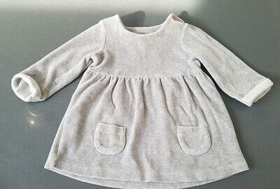 Next kids girls beautiful grey colour long sleeve dress size 6-9 months