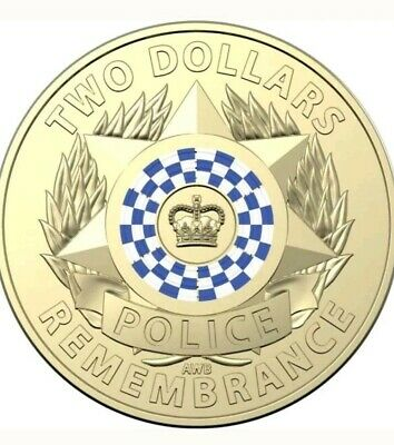 2019 $2 Dollar Coloured Coin POLICE REMEMBRANCE - UNC From RAM bag