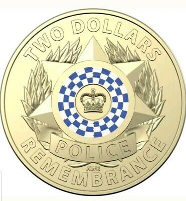 2× coins..2019 $2 Dollar Coloured Coin POLICE REMEMBRANCE - UNC From RAM bag