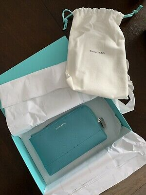 NEW AUTHENTIC TIFFANY & Co. CLASSIC TIFFANY BLUE LEATHER ZIP WALLET / POUCH