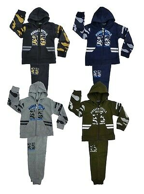 Kids Boys Tracksuit Camouflage Jog Set Urban Style Full Zip Hooded Top & Joggers