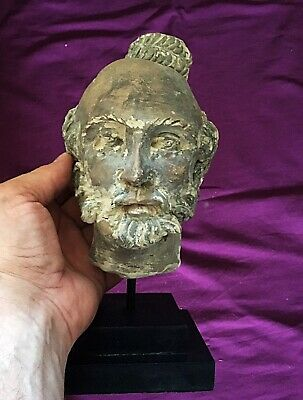 Rare Superb Large Stone Roman Head Of Old Roman Bust  c 2nd Cent AD On Plinth