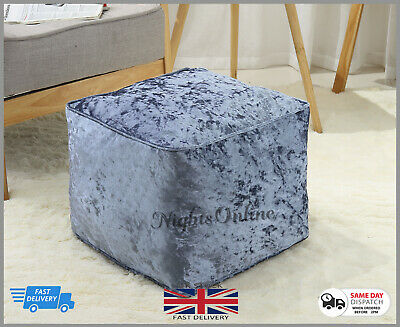 New Luxurious  Crushed Velvet Fully Filled Bean Bag Cube Footstool Pouffe Cube