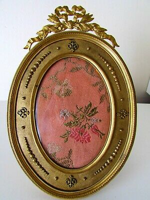 ANTIQUE ORMOLU GILT BRONZE 19 th C FRENCH OVAL PICTURE FRAME 7,5 ''