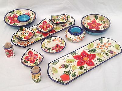 Spanish Pottery. Multi-coloured. Hand Painted Flor Azul Choice Of Kitchen Items!
