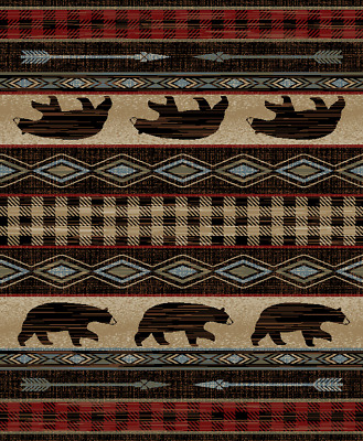 Lodge Bear Paw Fish Southwestern Cabin Rustic Red Area Rug Free Shipping Area Rugs Sisal Seagrass Area Rugs