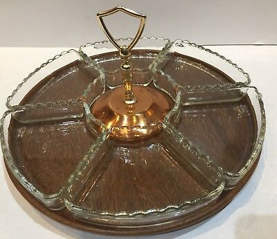 Vintage Six Section Lazy Susan Revolving Serving Tray Nuts Candy Appetizers MCM