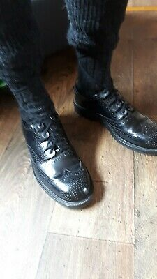 Ghillie brogues Real Leather black Kilt Shoes Size 10