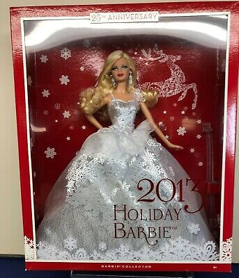 "12"" Mattel Barbie Doll Holiday Barbie 2013 Blonde Silver Christmas Mint NRFB"
