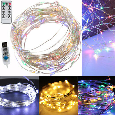 10M 100Led USB Sliver Wire Fairy String Light Remote Control Christmas Party UK