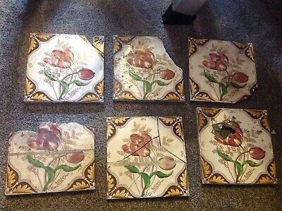 VINTAGE ORIGINAL VICTORIAN FLORAL DESIGN CERAMIC TILE 150 mm SQUARE - 8mm thick.