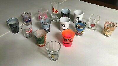 Collectible 15 Printed Shot Glasses Assorted Funnies Whisky VodkaTequila
