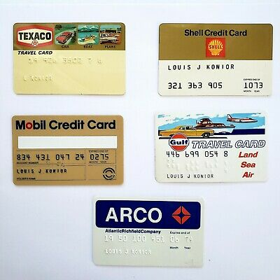 Lot of 5 Vintage Gas Credit Cards Signed/Used Texaco Mobil Shell Gulf Arco