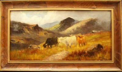 FINE 19th Century HIGHLAND CATTLE SCOTTISH  LANDSCAPE Antique Oil Painting