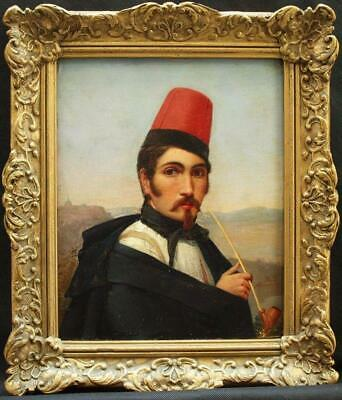 c1834 ITALIAN MILITARY PORTRAIT GENTLEMAN FEZ & PIPE SIGNED Antique Oil Painting