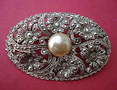 VERY LARGE ART DECO OVAL BROOCH MARCASITE FLOWERS & PEARL CABOCHON Vintage 1930s