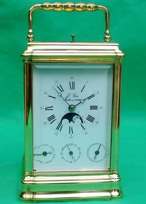 L'epee Vintage French Moon Phase Day Date Alarm Repeater Carriage Clock