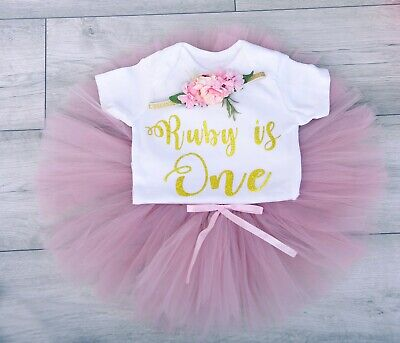 Girls 1st First Birthday Outfit Tutu Skirt Cake Smash Set Tiara Miss One Derful