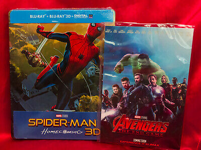 Spiderman Homecoming 3D Steelbook Edition Import + Avengers End Game Art Cards *