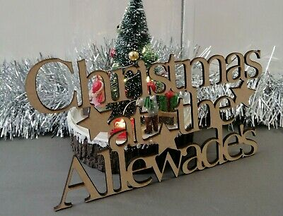 Wooden 'Christmas at the 'Surname' plaque. Personalised, Gift, Craft Family Sign