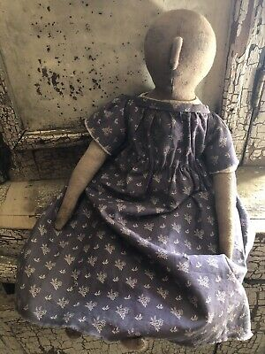 Handmade Primitive Cloth Doll In Faded Blue