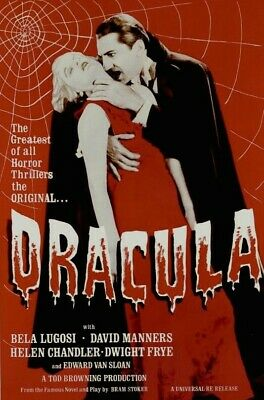 Classic Dracula - Bela Lugosi | Red/Black | New Large Rolled 24X36 Movie Poster