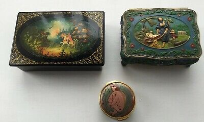 Russian Raised Enamel Trinket Box ,Russian Wooden Folklore Box, Enamel Pill Box.