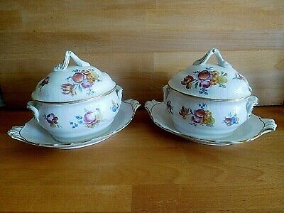 Pair Of 19Th C Italian Dresden Style Faience Tureens Covers And Stands Star Mark