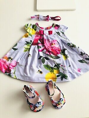 Baby Girls TED BAKER Dress Headband & Shoes Bundle Age 0-3 Months Immaculate