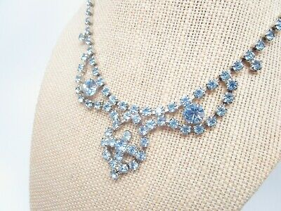 "Old Vintage Glam! Baby Blue Rhinestone Art Deco Bib Vintage Necklace 15.5"" Long"