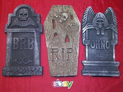 """3 PC LOT LARGE 15.5"""" Foam Tombstones Halloween Decoration Haunted House Prop NEW"""