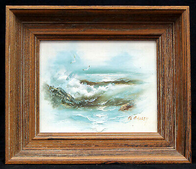 """H. Gailey """"Gulls In The Surf"""" Framed Signed Oil Painting on Canvas - B0354"""