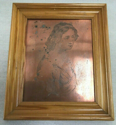 Framed Victorian Copper Etched Printing Block