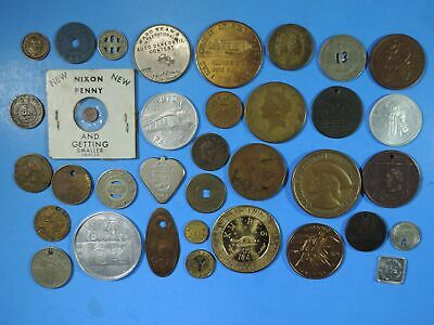 Lot of 35 Tokens & Medals Good For Elongated Nixon Penny WWII Coal California