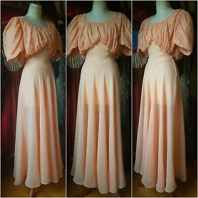 Vintage 1930's Apricot Chiffon Dress Gown Excellent Billowy Sleeves 30s antique