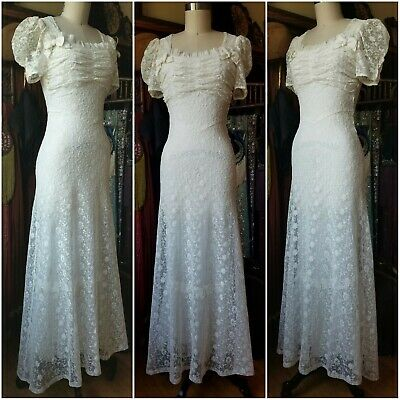 Vintage 1930s Ivory Tambour Lace Net Dress Wedding Puff Sleeve Gown 30s antique