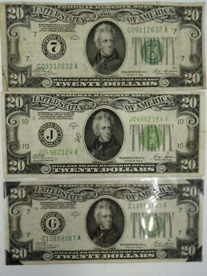 "3 Series 1928 B $20 ""Reedemable In Gold"" Federal Reserve Notes Light Green Seal"