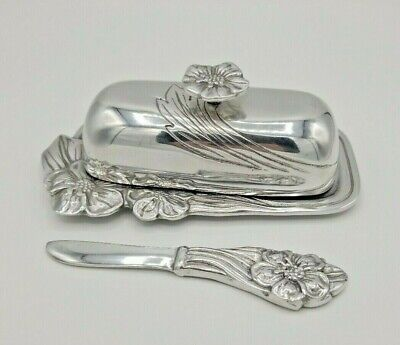 Hacienda Real HR Mexican Pewter hand polished Covered Butter & Knife Spreader