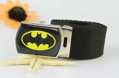 Children Kids Boys Black Batman Sports Super Hero Casual Canvas Pants Belt