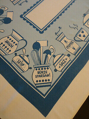 "Vintage Blue & White Linen Tablecloth Kitchen Ware in German 37.5""x54 (911)"