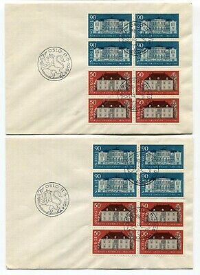 Norway 1964 Anniversary of Constitution - BLOCKS on Two FDC Covers -