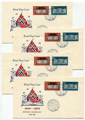 Norway 1964 Anniversary of Constitution - Group of Four Combination FDC Covers